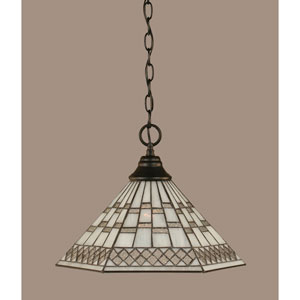 Matte Black 16-Inch One Light Chain Hung Pendant with Pewter Tiffany Glass