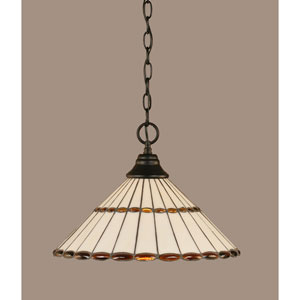 Matte Black 15.5-Inch One Light Chain Hung Pendant with Honey Glass/Amber Brown Jewels Tiffany