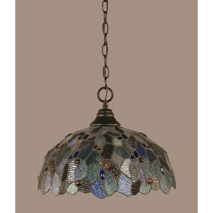 Matte Black 16-Inch One Light Chain Hung Pendant with Blue Mosaic Tiffany Glass