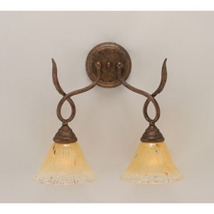 Leaf Bronze Two-Light Bath Fixture with Amber Crystal Glass