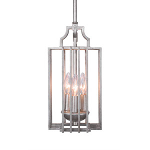 Sky Loft Aged Silver Three-Light 7-Inch Mini Pendant