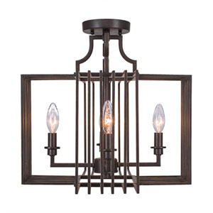 Sky Loft Dark Granite Four-Light 16.5-Inch Semi-Flush
