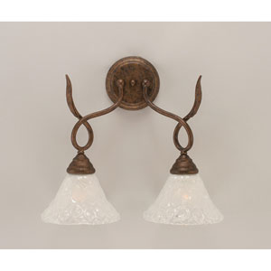 Leaf Bronze Two-Light Wall Sconce with Italian Bubble Glass