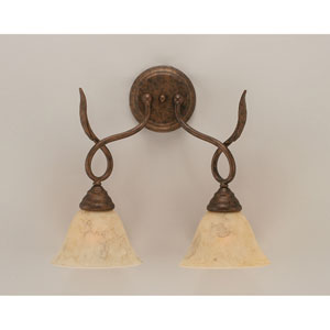 Leaf Bronze Two-Light Wall Sconce with Italian Marble Glass Shade