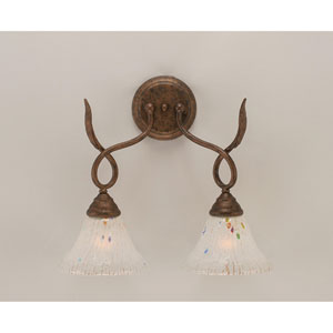 Leaf Bronze Two-Light Wall Sconce with Frosted Crystal Glass Shade