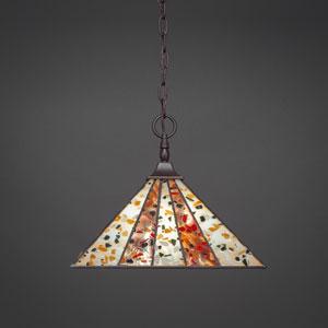 Square Dark Granite One-Light  Chain Hung Pendant with Fiesta Tiffany Glass