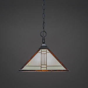 Square Matte Black One-Light Chain Hung Pendant with Santa Fe Tiffany Glass