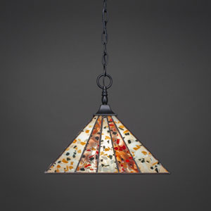 Square Matte Black One-Light Chain Hung Pendant with Fiesta Tiffany Glass