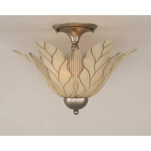Brushed Nickel Two-Light Semi-Flush with Vanilla Leaf Glass Shade