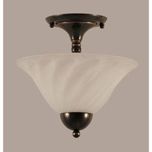 Black Copper 12-Inch Two Light Semi-Flush with White Alabaster Swirl Glass