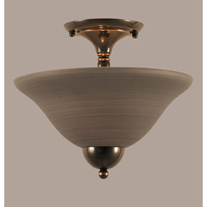 Black Copper 12-Inch Two Light Semi-Flush with Gray Linen Glass