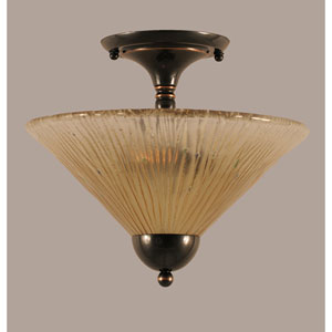 Black Copper 12-Inch Two Light Semi-Flush with Amber Crystal Glass