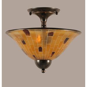 Black Copper 14-Inch Two Light Semi-Flush with Penshell Resin Glass