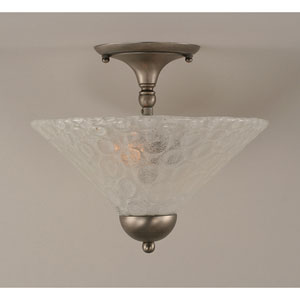 Brushed Nickel Two-Light Semi-Flush Moount with Italian Bubble Glass