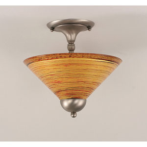 Brushed Nickel Two-Light Semi-Flush with Firre Saturn Glass Shade