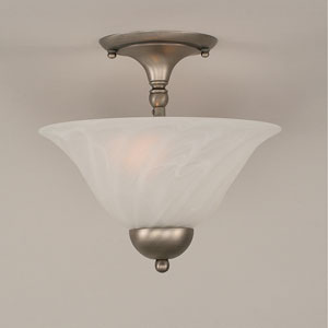 Brushed Nickel Two-Light Semi-Flush Mount with White Alabaster Swirl Glass
