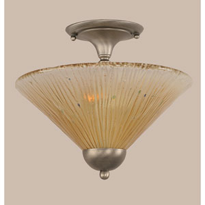 Brushed Nickel Two-Light Semi-Flush with Amber Crystal Glass Shade