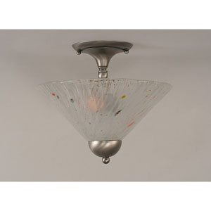 Brushed Nickel Two-Light Semi-Flush Mount with Frosted Crystal Glass