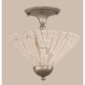 Brushed Nickel Two-Light Semi-Flush with Italian Ice Glass Shade