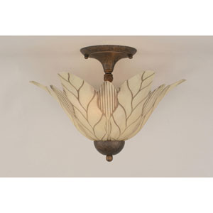 Bronze Two-Light Semi-Flush with Vanilla Leaf Glass Shade