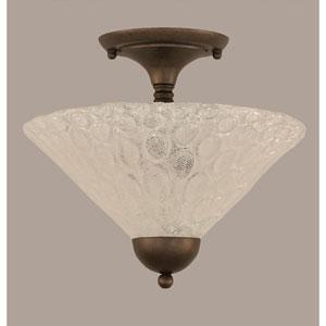 Bronze 12-Inch Two Light Semi-Flush with Italian Bubble Glass