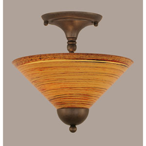 Bronze Two-Light Semi-Flush with Firre Saturn Glass Shade
