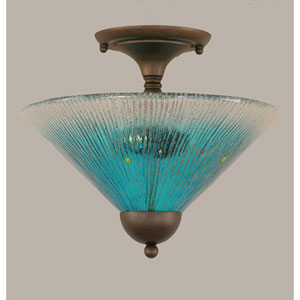 Bronze 12-Inch Two Light Semi-Flush with Teal Crystal Glass