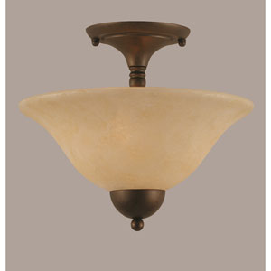 Bronze Two-Light Semi-Flush Mount with Amber Marble Glass