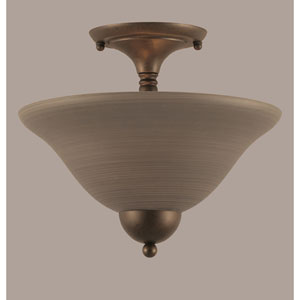 Bronze 12-Inch Two Light Semi-Flush with Gray Linen Glass