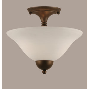 Bronze 12-Inch Two Light Semi-Flush with White Linen Glass