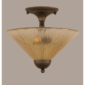 Bronze Two-Light Semi-Flush Mount with Amber Crystal Glass