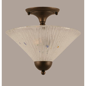 Bronze Two-Light Semi-Flush with Frosted Crystal Glass Shade