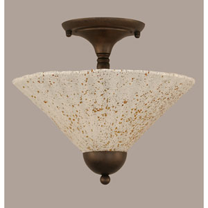 Bronze Two-Light Semi-Flush Mount with Gold Ice Glass