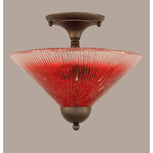 Bronze 12-Inch Two Light Semi-Flush with Raspberry Crystal Glass
