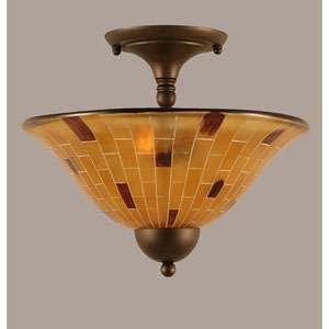 Bronze Two-Light Semi-Flush with Penshell Resin Shade