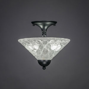 Matte Black 12-Inch Two Light Semi-Flush with Italian Bubble Glass