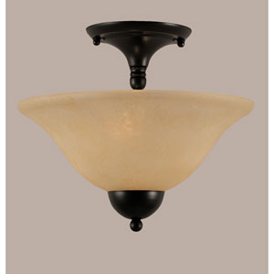 Matte Black 12-Inch Two Light Semi-Flush with Amber Marble Glass
