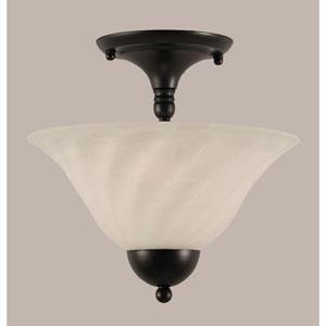Matte Black 12-Inch Two Light Semi-Flush with White Alabaster Swirl Glass