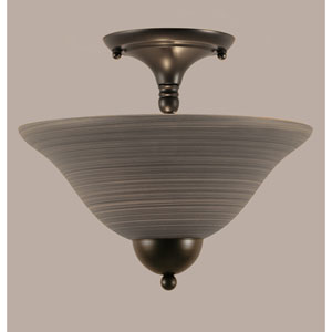Matte Black 12-Inch Two Light Semi-Flush with Gray Linen Glass