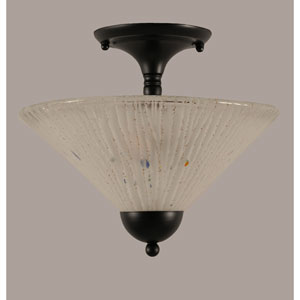 Matte Black 12-Inch Two Light Semi-Flush with Frosted Crystal Glass
