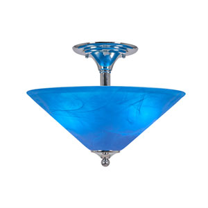 Chrome Two-Light Semi-Flush with 16-Inch Blue Italian Glass