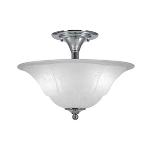Chrome Two-Light Semi-Flush with 16-Inch White Marble Glass