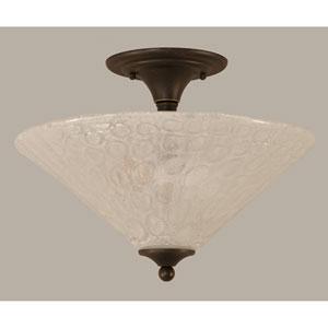 Dark Granite 16-Inch Two Light Semi-Flush with Italian Bubble Glass