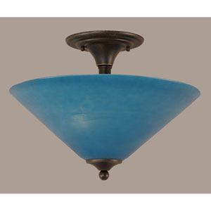 Dark Granite 16-Inch Two Light Semi-Flush with Blue Italian Glass