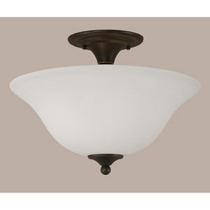 Dark Granite 16-Inch Two Light Semi-Flush with White Linen Glass