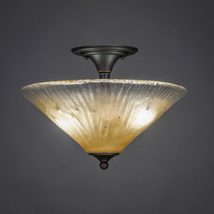 Dark Granite 16-Inch Two Light Semi-Flush with Amber Crystal Glass
