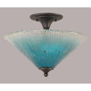 Dark Granite 16-Inch Two Light Semi-Flush with Teal Crystal Glass