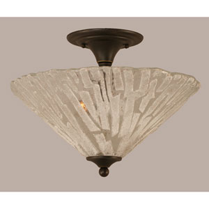 Dark Granite 16-Inch Two Light Semi-Flush with Italian Ice Glass