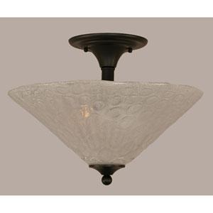 Matte Black 16-Inch Two Light Semi-Flush with Italian Bubble Glass