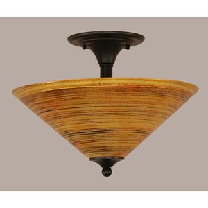 Matte Black 16-Inch Two Light Semi-Flush with Firré Saturn Glass